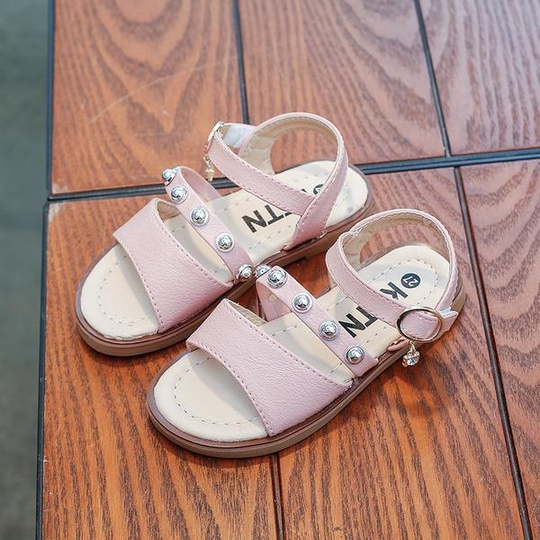 A menina de Peep toe imitação de couro Heel plana Sandálias Sem salto Sapatas do florista com Rivet