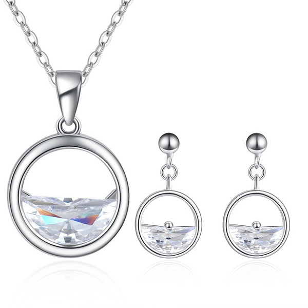 Ladies' Simple Copper/Zircon Jewelry Sets For Bridesmaid/For Friends/For Couple