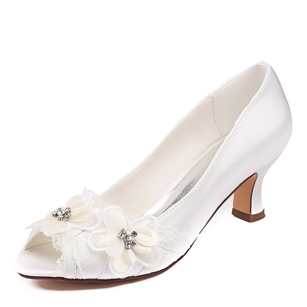 Women's Silk Like Satin Stiletto Heel Peep Toe Pumps With Sequin Flower Crystal