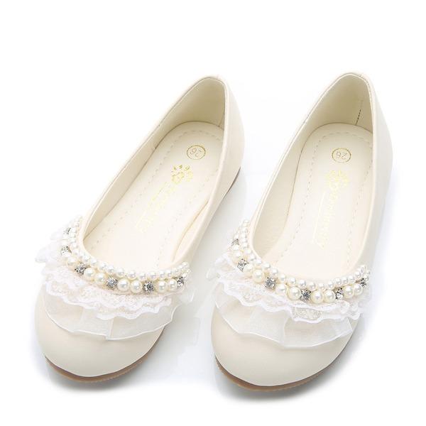 Girl's Ronde neus imitatieleer Flat Heel Flats met Kralen Stitching Lace