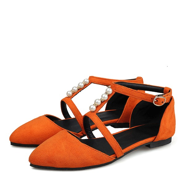 Women's Suede Flat Heel Sandals Flats Closed Toe With Imitation Pearl Buckle shoes