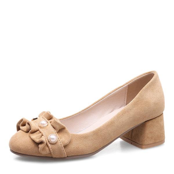Donna Camoscio Tacco spesso Stiletto Punta chiusa con Perla imitazione scarpe