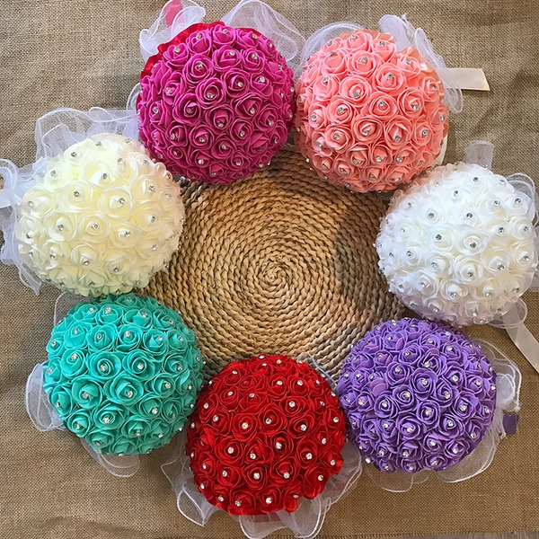 Simple And Elegant Round Foam Bridal Bouquets -