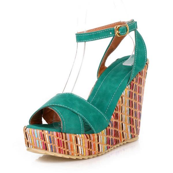 Femmes Similicuir Talon compensé Escarpins Plateforme Compensée À bout ouvert Escarpins avec Boucle chaussures