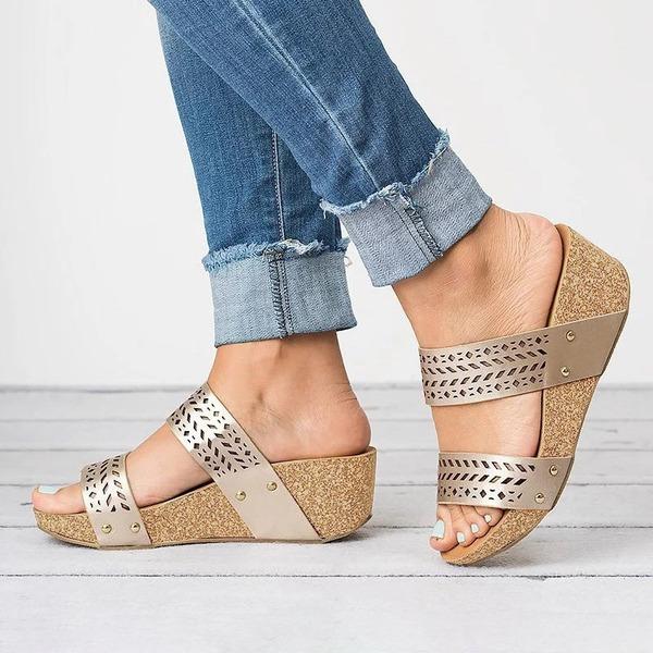 Donna PU Zeppe Sandalo Zeppe con Altrui scarpe