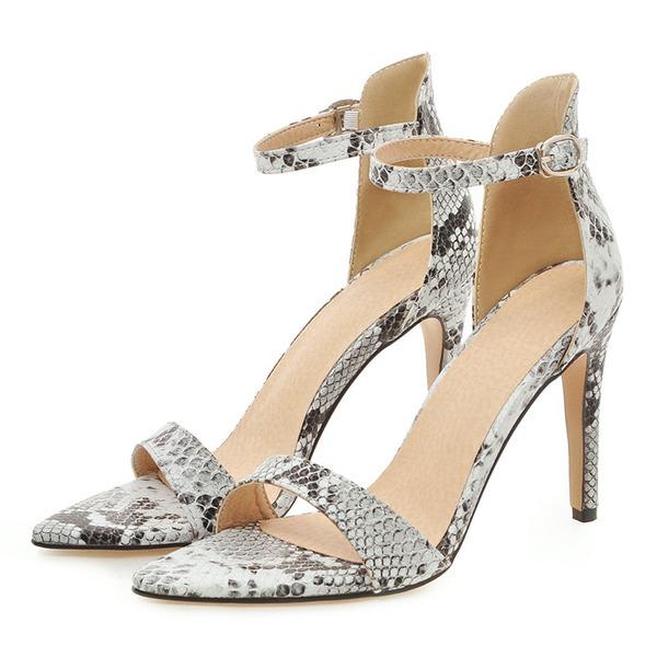 Женщины кожа Высокий тонкий каблук Сандалии На каблуках Открытый мыс с пряжка обувь