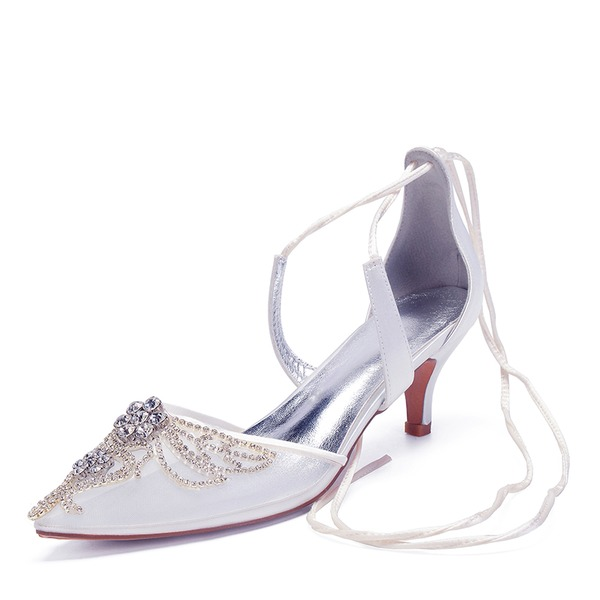 Frauen Spitze Seide wie Satin Mesh Kätzchen Absatz Flache Schuhe Sandalen mit Strass Hohl-out Zuschnüren