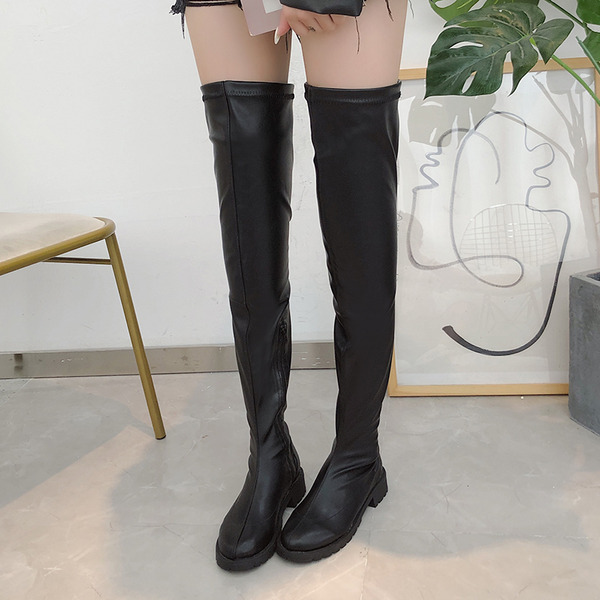 Mulheres PU Salto robusto Botas sapatos