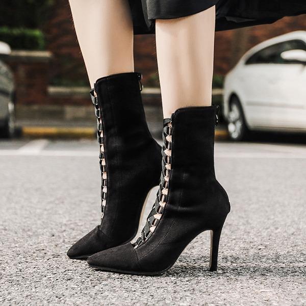 Kvinnor Mocka Stilettklack Stövlar Halva Vaden Stövlar med Zipper Bandage skor