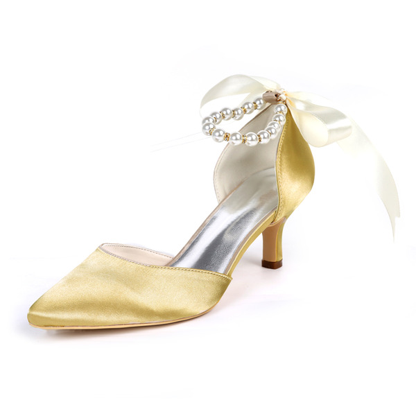 Women's Silk Like Satin Stiletto Heel Pumps With Bowknot Imitation Pearl Ribbon Tie