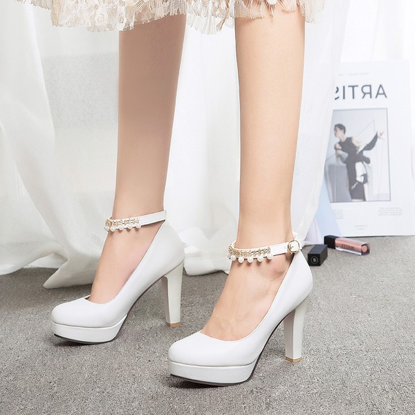 Women's Leatherette Stiletto Heel Pumps Platform Closed Toe With Imitation Pearl Buckle shoes
