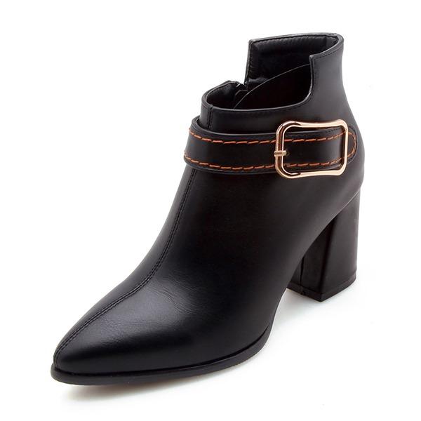 Mulheres Couro Salto robusto Fechados Botas Bota no tornozelo com Fivela Zíper sapatos