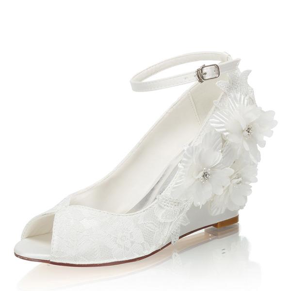 Women's Silk Like Satin Wedge Heel Closed Toe Wedges With Flower Crystal
