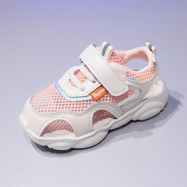 Fille de bout rond Bout fermé Mesh talon plat Chaussures plates Sneakers & Athletic avec Velcro Dentelle