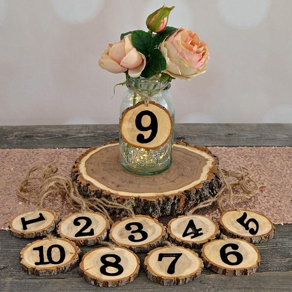 Clássico De madeira Número da mesa Cartões (Conjunto de 10)