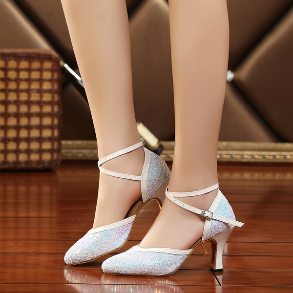 Vrouwen Sprankelende Glitter Hakken Sandalen Ballroom Swing met Hol-out Dansschoenen
