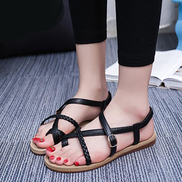 Kvinder Kunstlæder Flad Hæl sandaler Kigge Tå Slingbacks med Spænde Andre sko