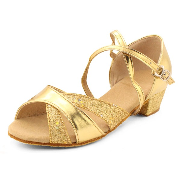 Women's Leatherette Sparkling Glitter Sandals Latin With Ankle Strap Dance Shoes