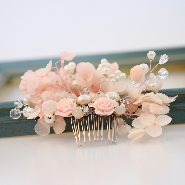 Damer Utsøkt Legering/Imitert Perle/Silke blomst Kammer og Barrettes med Venetianske Perle