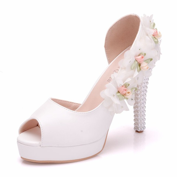 Women's Leatherette Spool Heel Peep Toe Pumps With Flower