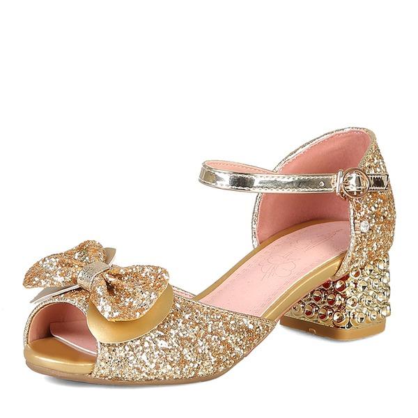 Donna Glitter scintillanti Tacco spesso Sandalo Punta aperta con Bowknot Glitter scintillanti scarpe