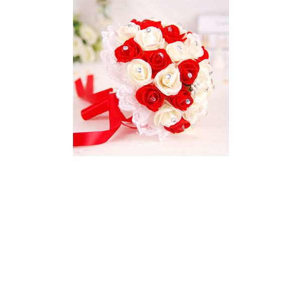 Round Satin/Foam Bridal Bouquets (Sold in a single piece) -