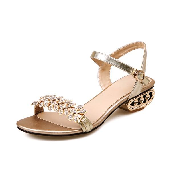 Kvinnor Äkta läder Låg Klack Sandaler Slingbacks med Strass skor
