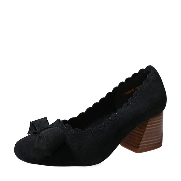 Frauen Veloursleder Stämmiger Absatz Absatzschuhe Geschlossene Zehe mit Bowknot Schuhe