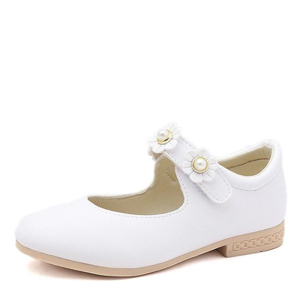 Girl's Ronde neus Closed Toe imitatieleer Flat Heel Flats Bloemenmeisje schoenen met Velcro Bloem