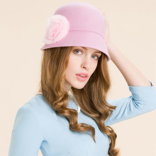 Damene ' Elegant Ull med Blomst Stiv / Cloche Hatt