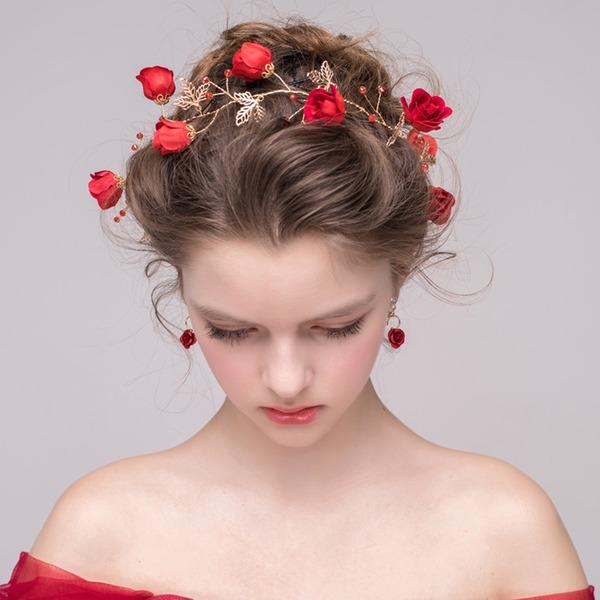 Damen Elegant Kristall/Legierung/Seide Blumen Stirnbänder mit Kristall