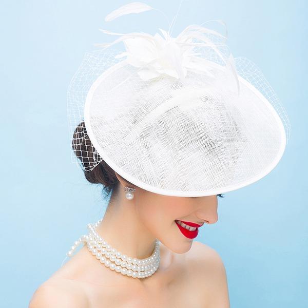 Dames Mode/Glamour/Exquis/Exceptionnel/Accrocheur/Romantique/Style Vintage Batiste avec Feather Chapeaux de type fascinator