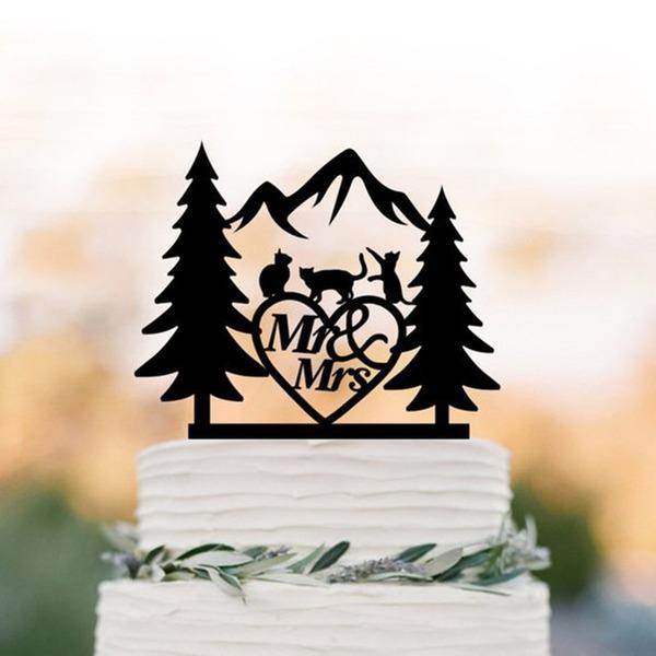 Rustik Akryl/Træ Kage Topper