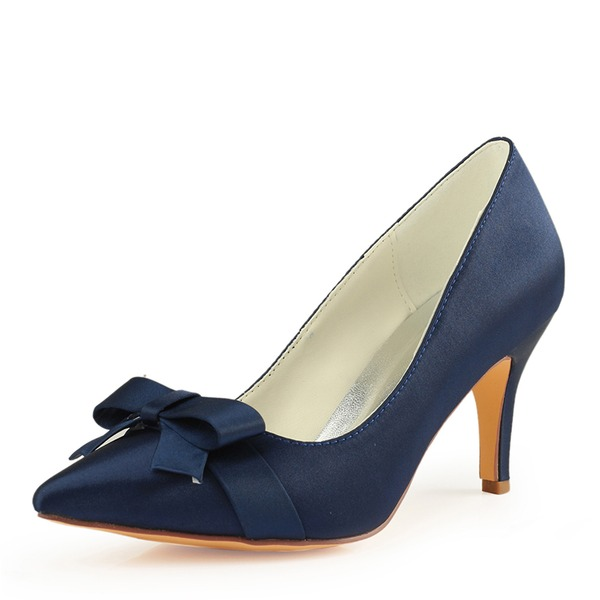 Women's Silk Like Satin Stiletto Heel Pumps With Bowknot