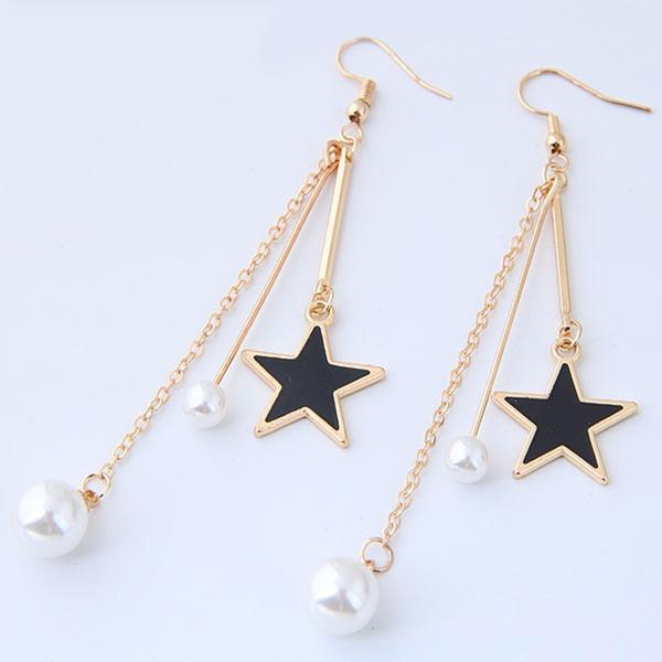 Exquisiten Legierung Faux-Perlen mit Nachahmungen von Perlen Frauen Art-Ohrringe (Set von 2)