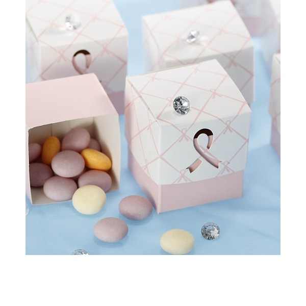 Pink Ribbon Wedding Favor Box (Set of 12)