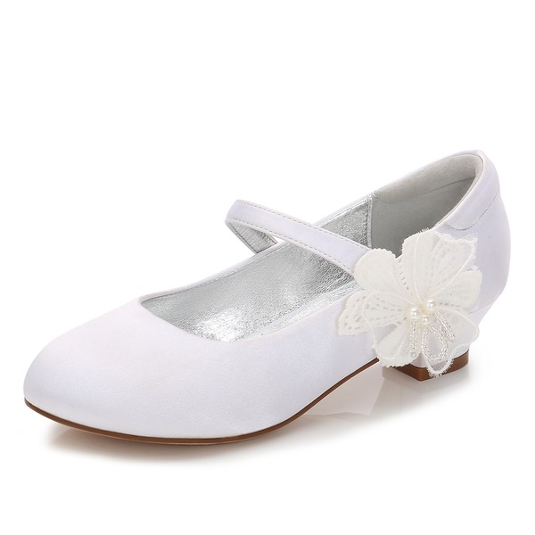Flicka rund tå Stängt Toe Mary Jane Silk som Satin låg klack Flower Girl Shoes med Kardborre Applikationer