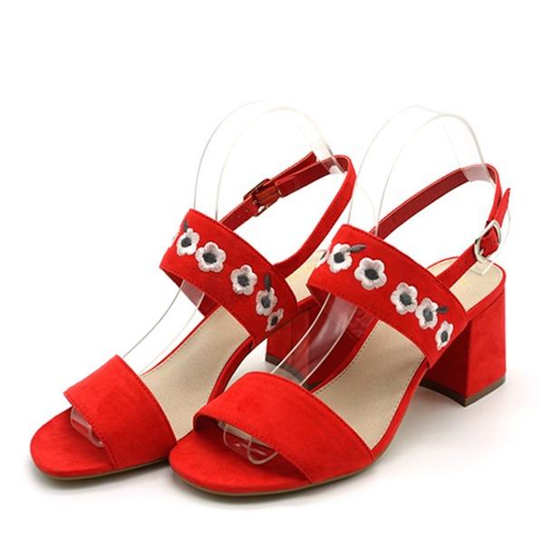 Naisten Mokkanahka Chunky heel Sandaalit Avokkaat Peep toe Kantiohihnakengät jossa Solki Kukka kengät