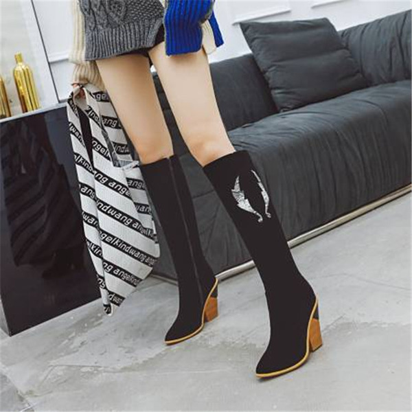 Women's Suede Chunky Heel Knee High Boots With Others shoes