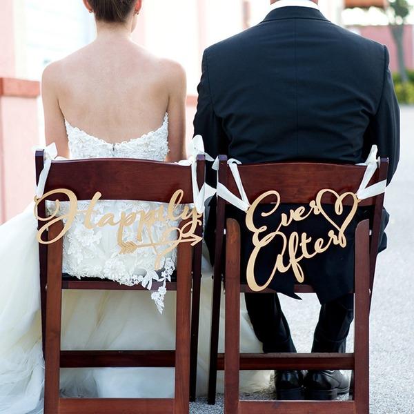 Enkle Classic/Elegant Træ Bryllup Sign (sæt af 2)