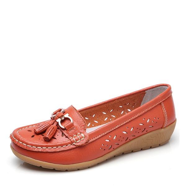Vrouwen Kunstleer Low Heel Flats Closed Toe met Gesp Hol-out schoenen