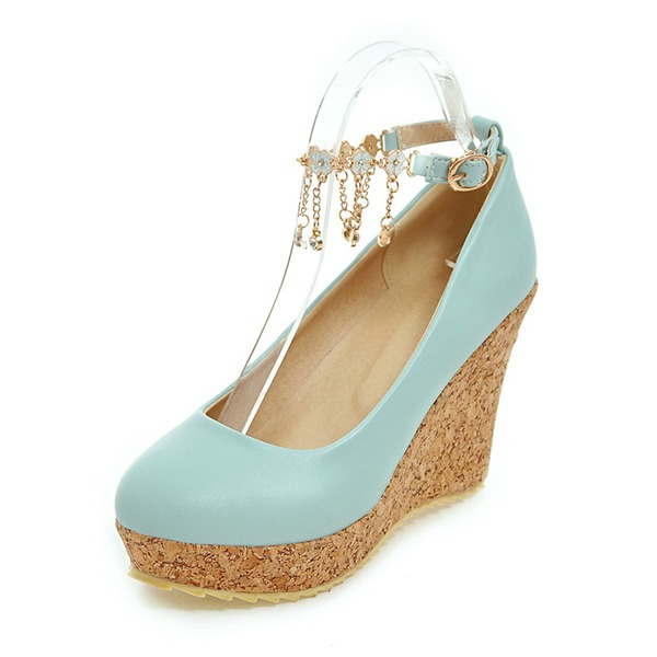 Women's PU Wedge Heel Closed Toe Wedges With Bowknot shoes