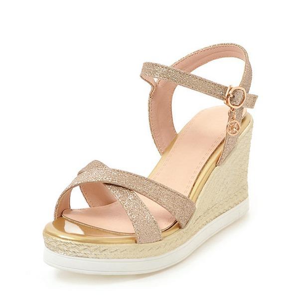 Donna Glitter scintillanti Zeppe Sandalo Zeppe Punta aperta Con cinturino con Fibbia scarpe
