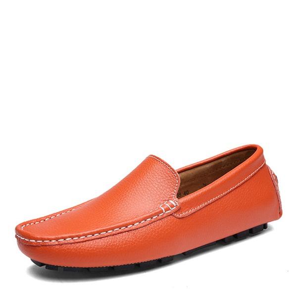 Homens Couro Verdadeiro Sapatos De Barco Casual Mocassins Masculinos