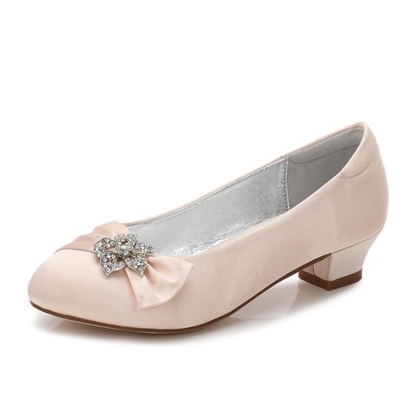 Fille de bout rond Bout fermé Mary Jane Soie satin Low Heel Chaussures de fille de fleur avec Strass Plissé