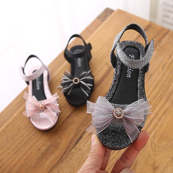 Girl's Peep Toe Slingback Leatherette Flat Heel Sandals Flats With Bowknot Velcro
