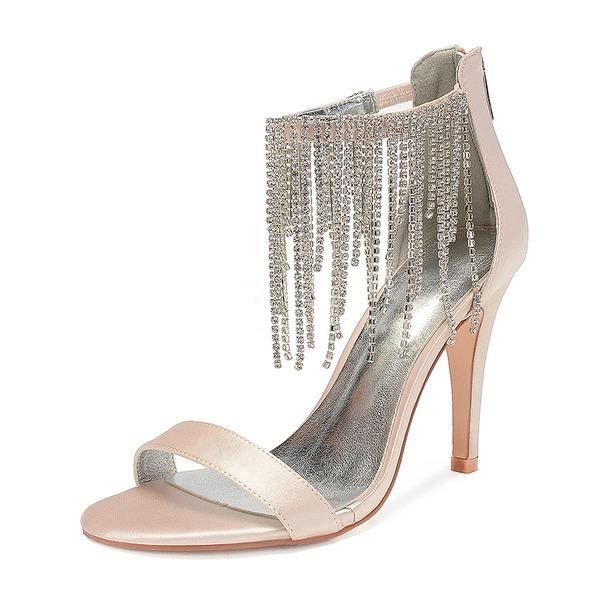 Kadın İpeksi Saten İnce Topuk Peep Toe Pompalar Sandalet Ile Yapay elmas Püskül Fermuar Zincir
