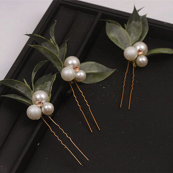 Romantic Rhinestone Hairpins With Venetian Pearl (Set of 6)