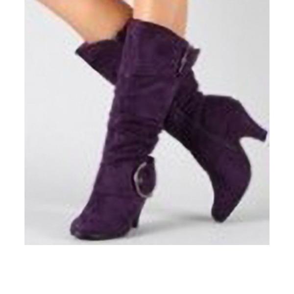 Naisten Mokkanahka Chunky heel Avokkaat Kengät jossa Vetoketju kengät