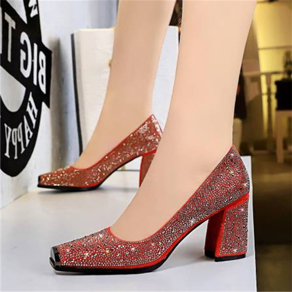Women's PU Chunky Heel Pumps With Rhinestone shoes